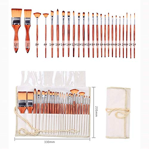 24 rundum zweifarbige Nylon-Aquarell-Stift feine Pinsel Acryl Pinsel Gesichts Pinsel Wasser Kreide Set (Color : Brown)