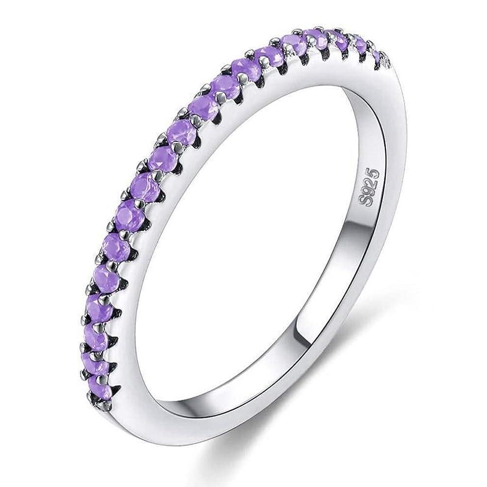 Chuan Han Accessories, European and American Popular Wild Zircon Silver Ring Female, Semi-Precious Stones, Party Flat Ring, Claw Set, Geometric, Micro-Set, Purple & Platinum, US 8