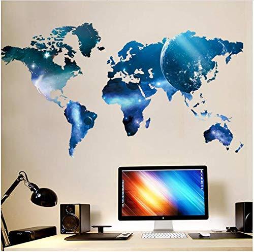 Newberli 3D Blue Planet Carte Du Monde Stickers Muraux Enfants Chambre Salon Bureau Fond Décor À La Maison Art Stickers Affiche Autocollant Papier Peint