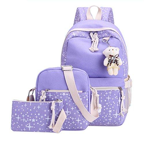Fanci 3Pcs Stars Prints Canvas Elementary School Rucksack Backpack Set for Girls Women Casual Daypack