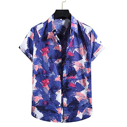 Camisa Casual Hombre con Estampado De Rayas Hombre Shirt Moderna Básica Verano Personalidad Hombre Camisa Clásica Playa Manga Corta Hombre Shirt Hawaiana L-012 XXL