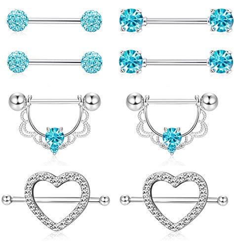ORAZIO 4 Pairs 14G Stainless Steel Nipplerings Nipple Tongue Rings CZ Opal Barbell Body Piercing Jewelry Blue