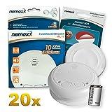 20x Nemaxx WL10 Detector de Humo inalámbrico - con 10 años de batería de lítio- de Acuerdo con la Norma DIN EN 14604 + 20x NX1 Pad de fijación de Soporte