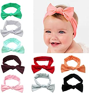 Gprince 9 Colors Newborn Baby Girl Elastic Lovely Bowknot Hair Band Toddlers Bow Headband Hair Accessories