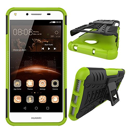 xinyunew Cover Huawei Y5 II 2016,Custodia 360 Gradi+ Pellicola Protettiva in Vetro Temperato Case Cover custodie Cellulare Stilosa Protettiva Bumper per Huawei Y5 II 2016- Verde