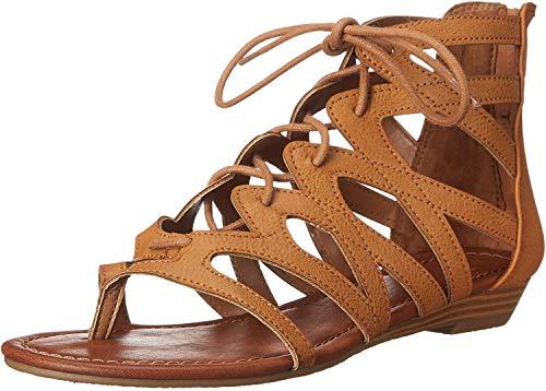 Rampage Women's Santini Cutout Lace-Up Open Toe Ankle Strap Gladiator Sandal,  Cognac , 8 M US