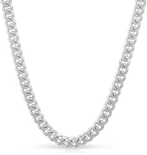Sterling Silver Italian 4mm Miami Cuban Curb Link Thick Solid 925 Rhodium Necklace Chain 16