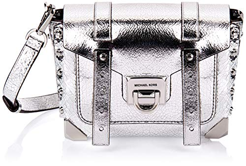 Made of Leather; Flip-lock closure; 1 front slip pocket 3 interior card slots; 19-21 inches long detachable strap Silver exterior hardware Measurements: Length: 7.5 x Height: 5.5 x Width: 3.25 Inches Comes with original tags