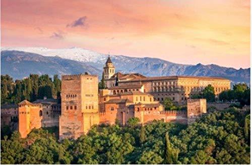 500 Teile Puzzle Puzzel Alte Arabische Festung Alhambra An Der Schönen Abendzeit Granada Spanien Europäisches Reise-Wahrzeichen Für Erwachsene Freunde
