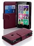 Cadorabo Hülle für Nokia Lumia 630/635 - Hülle in Bordeaux LILA – Handyhülle mit Kartenfach aus struktriertem Kunstleder - Case Cover Schutzhülle Etui Tasche Book Klapp Style
