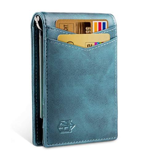 Zitahli Minimalist Slim Bifold Front Pocket Wallet with Money, Vintage Blue, Size Small