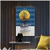 WEUEWQ póster Moderno bajo la Luna RinoceronteLienzo Arte impresión Cartel de Pared hogar niños habitación decoración Maison -50x70cmx1 sin Marco