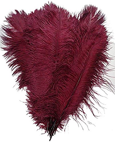 KOLIGHT 100pcs 12''~14''(30~35cm) Natural Ostrich Feathers for DIY Home Wedding Party Office Decoration (Burgundy)