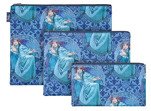 Reißverschlusstaschen für Reiseutensilien – Koffer Organizer Taschen Set 3-teilig - Kulturtasche Kosmetiktasche für Damen und Mädchen – Kleine Makeup Schminktasche (Mucha Hyazinthe)