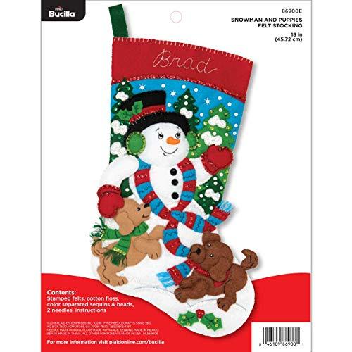 Bucilla Felt Applique Christmas Stocking Kit, 18', Snowman and Puppies