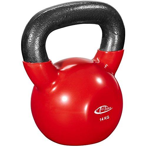 TecTake Pesa rusa Kettlebell peso redondo | Pesa de hierro fundido | Revestimiento de vinilo antiadherente - varios modelos - (14kg | No. 402628)