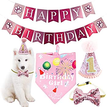 BIPY - Chapeau de 1er anniversaire - Bandana Bowite - Pour filles - Petit, moyen et animal - Rose - Accessoire de toilettage - Décoration de fête