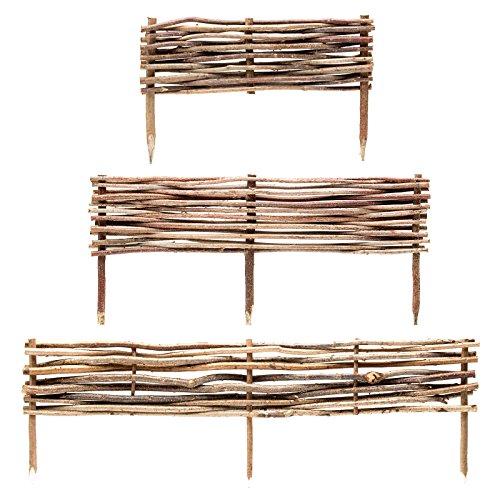 BooGardi Beeteinfassung Holz · Haselnuss Beeteingrenzung in 3 Größen (20 x 90 cm) · Steckzaun zur Beet-Umrandung oder Weg-Abgrenzung