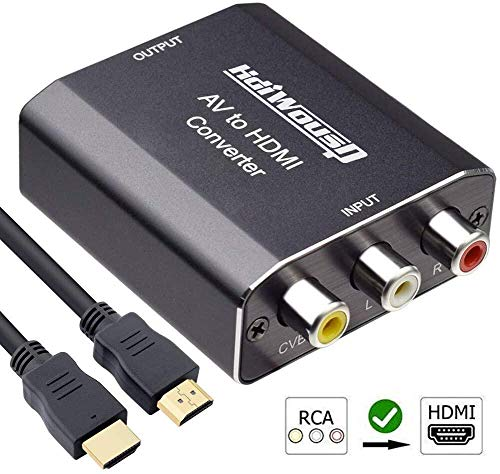 RCA to HDMI, Hdiwousp 1080P Mini RCA Composite CVBS AV to HDMI Video Audio Converter Adapter with HDMI Cable Supporting PAL/NTSC with USB Charge Cable for TV/PC/PS3/Blue-Ray DVD, Aluminum