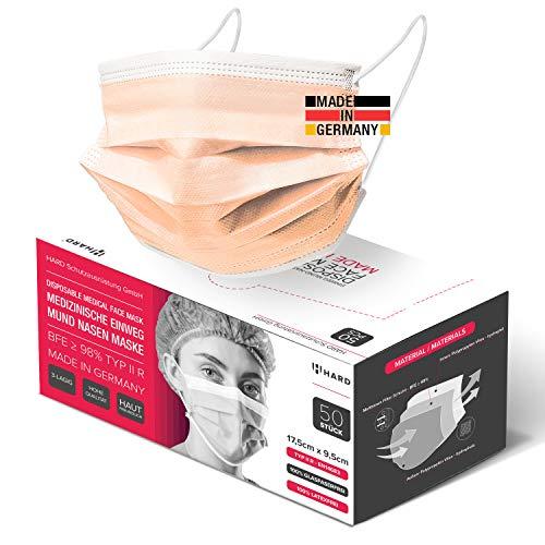 HARD 50x Medizinischer Mundschutz, Made in Germany, OP-Maske TYP IIR, CE zertifiziert EN14683, 99,78% BFE 3-lagig Öko TEX, schützende Mund-Nasen-Bedeckung, Einweg-Gesichtsmasken Erwachsene - Coral