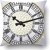 Pillow Cover Torre Negra Reloj Big Ben Realista Reloj En Capas Y Agrupado Reloj De Londres Dial Edificio Antiguo Clipart Fundas De Almohada Albergue Decorativo Poliéster Cuadrado