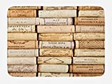 """Lunarable Winery Bath Mat, Different Wine Corks Arranged in a Line French Aged Fine Wine Art Print, Plush Bathroom Decor Mat with Non Slip Backing, 29.5"""" X 17.5"""", Brown Ivory"""