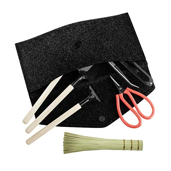"""Premium Bonsai Tool Kit + Bonsai 101 Book - Set Includes: Wooden Rake, Long & Wide Spades, Scissors, Tweezers, Bamboo… 5 Everything you need to care for your bonsai, in one stylish case: pruning shear and scissors to cut twigs, smaller branches, leaves or roots easily. Pair of tweezers to remove dead leaves, insects, weeds and other fine debris. Bamboo brush to enhance your bonsai tree, bamboo rake to plane or rake the surface of the soil when repotting, and 2 spades (long & wide). Includes best selling book """"bonsai: 101 essential tips"""" by bonsai expert Harry Tomlinson (DK Publishing), with 72 full color illustrated pages. Everything you need to know about bonsai care, maintenance, design, and arrangement. With clear explanations of bonsai and what it is, these 101 easy-to-grasp tips have everything you need to get the results you want. Premium quality: Everything is made with only the finest steel and bamboo, as you would expect from the Planters' Choice brand. And it comes neatly packaged in a stylish storage case so that it makes a great gift for your friend or family."""