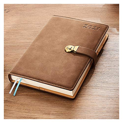 WGH 2021 Daily 2021 Daily Hourly Planner/Appointment Book,Faux Sheepskin Cover Diary with Vintage Copper Clasp,24-Hourly Business Planner 2021 Planner (Color : Brown)