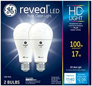 GE Lighting 92986 Light Reveal HD Dimmable LED A21 Ceiling Fan Bulb 17-Watt (100-Watt-Replacement), 1140-Lumen Medium Base, 2-Pack, 2 Piece