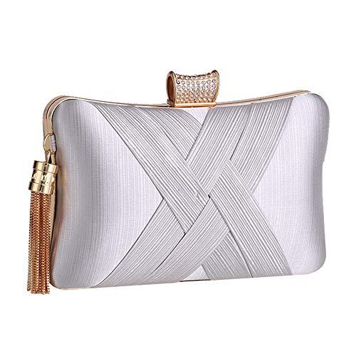 JTCT tas voor dames, metaal, franjes, koppeling, ketting, schoudertas, modieus, persoonlijk, feestjurk, avondjurk, bruiloft, strass, kristal, handvat, koppelingen tassen