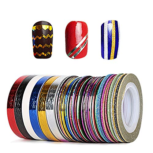 JNCH 46 Rollen Nail Art Stripes Tape Nagel Zierstreifen Nail Striping Tape Sticker Nageldesign Deko