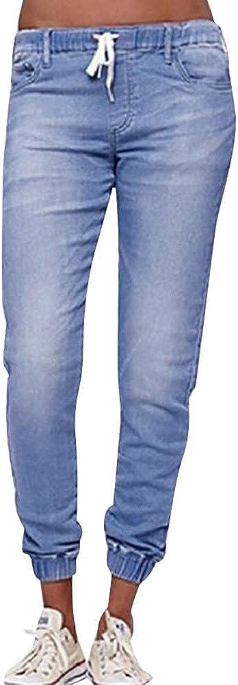 FUNEY Boyfriend Jeans for Women Plus Size Drawstring Pocketed Joggers Stretch Pants Elastic Waist Pull On Denim Pants
