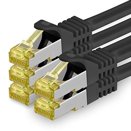 1aTTack.de Cat.7 Netzwerkkabel 2m Schwarz 5 Stück Cat7 Ethernetkabel Netzwerk LAN Kabel Rohkabel 10 Gb s SFTP PIMF LSZH Set Patchkabel mit Rj 45 Stecker Cat.6a
