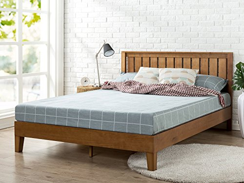 Zinus Alexis 12 Inch Deluxe Wood Platform Bed with Headboard / No Box Spring Needed / Wood Slat Support / Rustic Pine Finish, Full