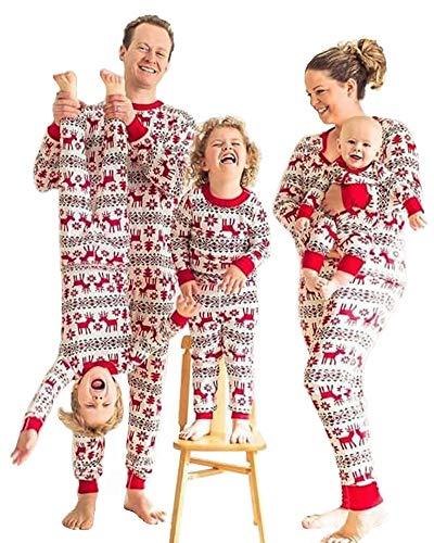 FEDPOP Family Christmas Pajamas Sets Matching Christmas PJs with Reindeer Printed Pants Long Sleeve Sleepwear