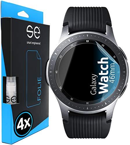 [4 Stück] 3D Schutzfolien kompatibel mit Samsung Galaxy Watch (46mm), durchsichtige HD Bildschirmschutz-Folie, Schutz vor Dreck & Kratzern, kein Schutzglas - smart engineered