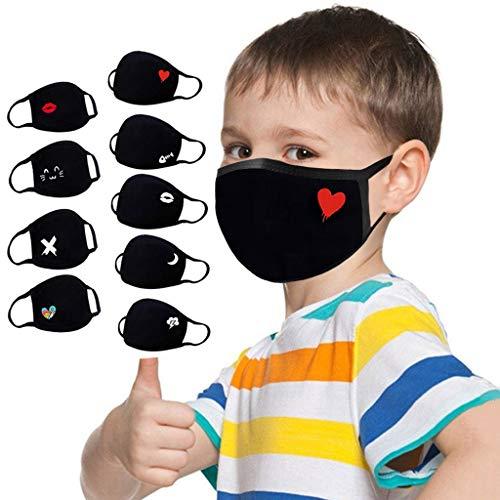 cinnamou 9 Stück Kinder_Mundschutz_waschbar_mit_Motiv_kinder_Unisex_Kindergesichts_cover_Baumwolle/_Hängendes_Ohr_für_Jungen_Mädchen
