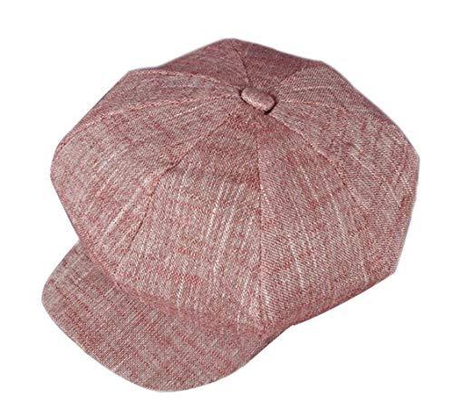 CHENNUO CHENNUO Schirmmützen Damen Lässiger Baumwolle und Leinen Barette Visor Cap Maler Mütze (Rot)