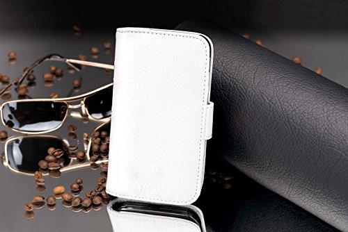 Cadorabo Hülle für Huawei Ascend Y330 - Hülle in Magnesium WEIß – Handyhülle mit Kartenfach aus struktriertem Kunstleder - Case Cover Schutzhülle Etui Tasche Book Klapp Style - 4