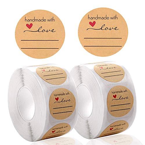 1000 pcs Pegatina Kraft Etiqueta Adhesiva,Adhesivos Redondos para Hornear Kraft, Handmade with love Pegatinas Personalizados, for Sello álbum de recortes bolsa de regalo boda