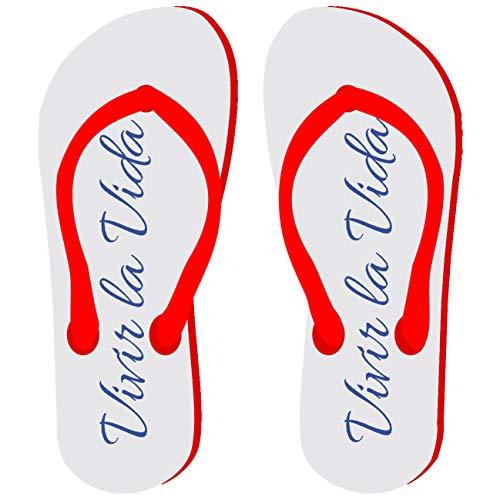 My Custom Style Flip-Flop Kollektion, Liebe., - Summer Time Vivi La Vida - Größe: 1 paio Adulto S -Rosse-