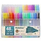 Mutsitaz 48 paquetes de bolígrafos de tinta de gel de color, juego de bolígrafos de gel para libros de colorear para adultos, dibujo y escritura, punta de 1,0 mm