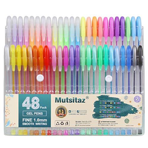 Mutsitaz Set di 48 Glitterate Penne Gel Colorate per per Scrittura,Colorare o Manga, Disegnare (12 Metallico + 12 Glitterato + 12 Neon + 12 Pastello)