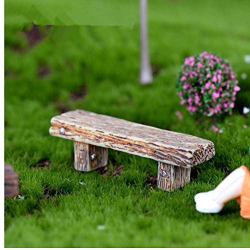 TOSSPER 1 Stück Lange Holzbank Miniatur Figurine Fee Garten-Accessoires Puppenhaus Dekoration Cartoon Tiermodelle Plastic Girl Toy