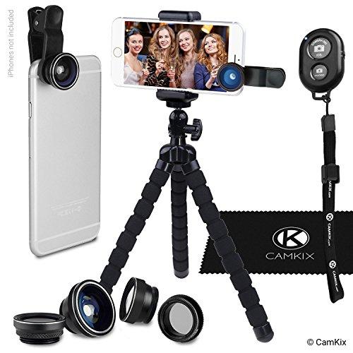 Kit Fotografia Smartphone - Treppiede Flessibile per Cellulare, Controllo Remoto Bluetooth Otturatore Fotocamera e Kit Lenti 5in1 - Polpo Pod Universale