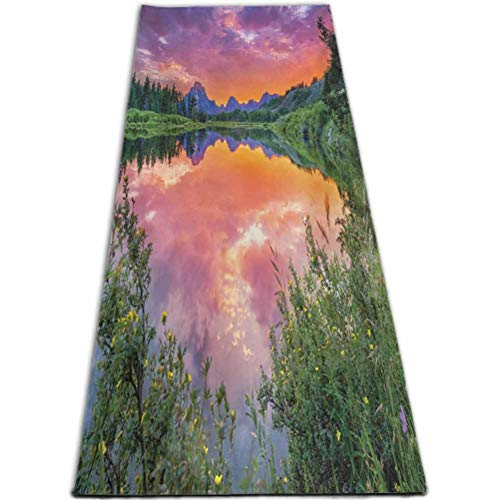RenteriaDecor Mountain Gym Sports Yoga Mat Colorful Sunset Reflection On River Nature Meadow in Wyoming Photography Orange Green Purple