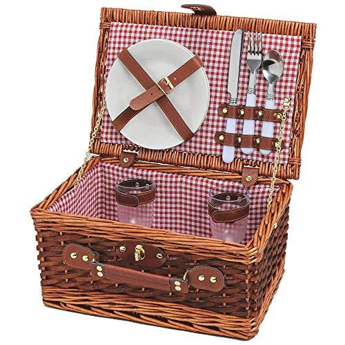 matches21 HOME & HOBBY picknickmand voor 2 personen rieten mand/koffer bruin/rood-wit 11 stuks inclusief herbruikbaar servies