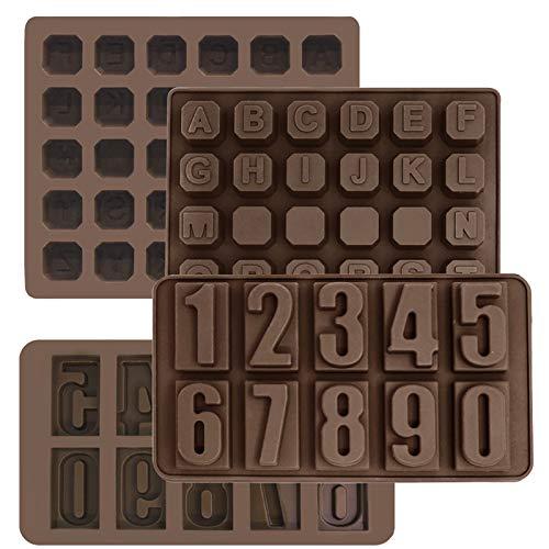 4er-Set, Silikon-Buchstabenform und Zahlenschokoladenformen, SourceTon-Silikonalphabet und Zahlenkuchen-Backform-Schokoladeneisschale