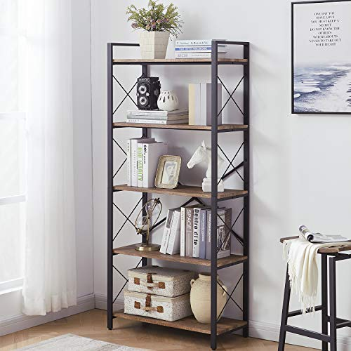 Nathan James Theo 5-Shelf Wood Modern Bookcase, Open Wall Mount Ladder Bookshelf with Industrial Metal Frame, Walnut Brown/Black