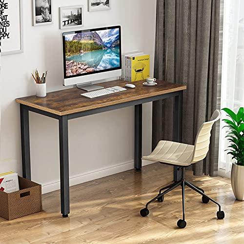 Escritorio para ordenador, mesa de oficina, mesa de oficina, escritorio de oficina con tablero grueso y marco de metal resistente para oficina, hogar (marrón)